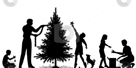 Christmas preparation stock vector clipart, Editable vector silhouette of a family decorating a Christmas tree with all elements as separate objects by Robert Adrian Hillman