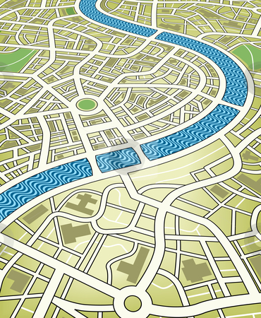 City map stock vector clipart, Editable vector illustration of a nameless street map from an angled perspective by Robert Adrian Hillman