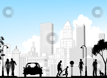 City street stock vector clipart, Editable vector silhouette of a busy street with city buildings as background; all silhouette elements as separate objects. by Robert Adrian Hillman