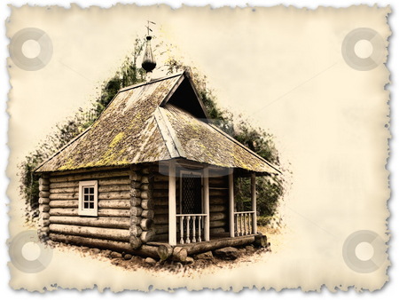Chapel stock photo, Old timbered chapel in manor Mihailovskoe. Russia. Retro style photo with copy space for your text by Sergej Razvodovskij