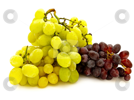 Grape stock photo, Green and red grape against the white background by Sergej Razvodovskij