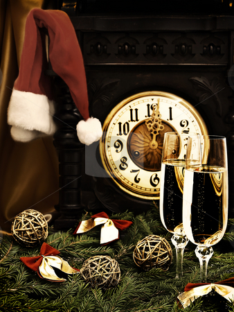 New Year stock photo, New Year composition with old clock, champagne,
