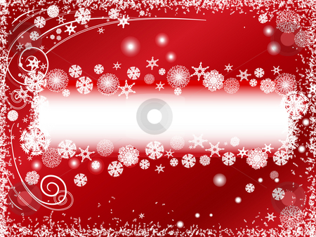 Snowflakes stock photo, Abstract winter background with snowflakes and copy space into the red by Sergej Razvodovskij