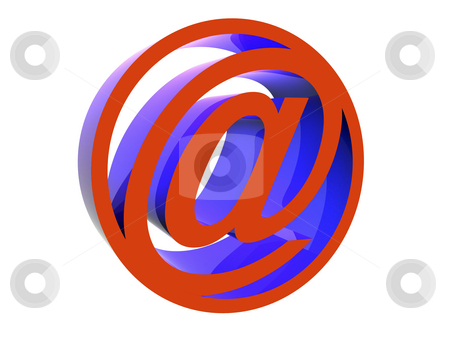 Email icon stock photo, 3d red e-mail icon - at @ - isolated image by Mile Atanasov