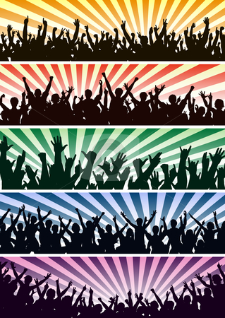 Concert crowds stock vector clipart, Set of editable vector concert crowd silhouettes with all people as separate objects by Robert Adrian Hillman