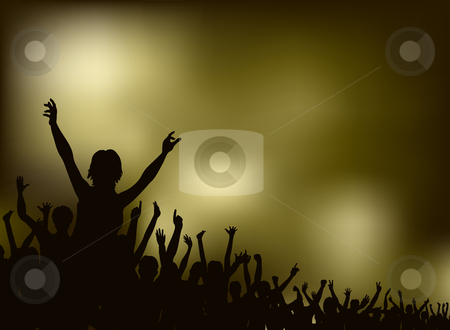 Concert stock vector clipart, Editable vector silhouette of a crowd with each person as a separate object by Robert Adrian Hillman