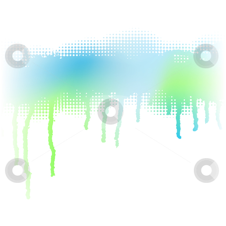 Drip stripe stock vector clipart, Abstract editable vector illustration of a pale blue-green dripping stripe made by masking a background color mesh by Robert Adrian Hillman