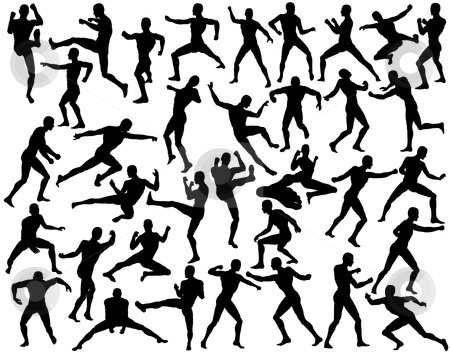 Fighters stock vector clipart, Set of editable vector silhouettes of fighting men by Robert Adrian Hillman