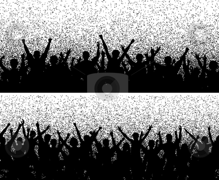 Grainy crowds stock vector clipart, Two editable vector crowd silhouettes with grainy grunge by Robert Adrian Hillman