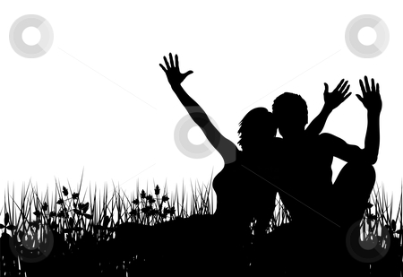 Grass people stock vector clipart, Editable vector silhouette of a couple sitting in a meadow with people as separate elements by Robert Adrian Hillman