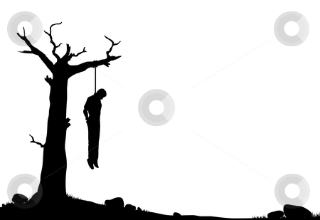 Hanging tree stock vector clipart, Editable vector silhouette of a man hanged from a dead tree by Robert Adrian Hillman