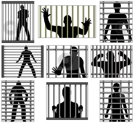 Incarcerated stock vector clipart, Set of editable vector designs of men behind prison bars by Robert Adrian Hillman