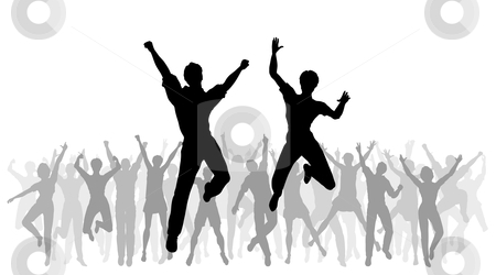 Jumping celebration stock vector clipart, Editable vector illustration of people jumping in celebration with every person as a separate object by Robert Adrian Hillman