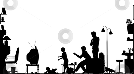 Living room stock vector clipart, Foreground silhouette of a family in a living room with all elements as separate editable objects by Robert Adrian Hillman