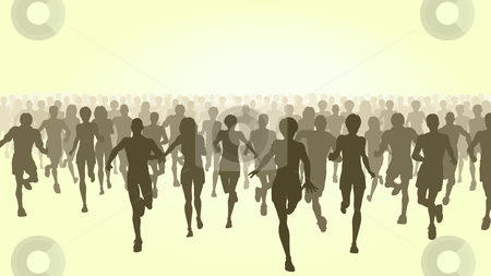 Marathon stock vector clipart, Editable vector illustration of a large group of people running by Robert Adrian Hillman