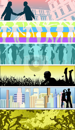 People banners stock vector clipart, Set of editable vector banners using people silhouettes by Robert Adrian Hillman