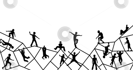 Playtime stock vector clipart, Editable vector foreground silhouette of kids playing on an abstract climbing frame with all elements as separate objects by Robert Adrian Hillman
