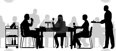 Restaurant scene stock vector clipart, Editable vector silhouette of people eating in a restaurant with all figures as separate objects by Robert Adrian Hillman