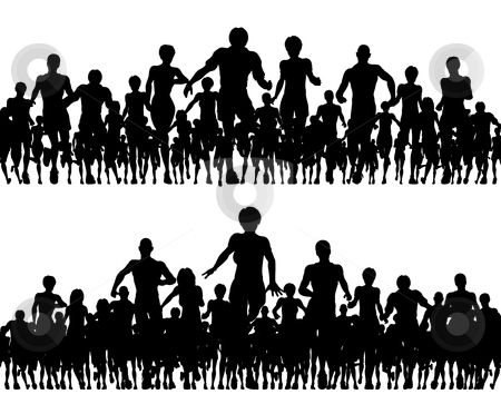 Running foregrounds stock vector clipart, Editable vector silhouettes of a many people running by Robert Adrian Hillman