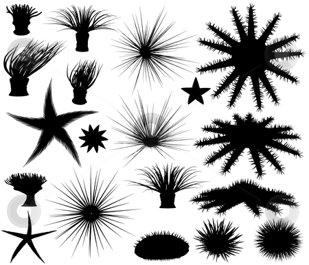 Sealife silhouettes stock vector clipart, Set of editable vector silhouettes of sea lifeforms by Robert Adrian Hillman