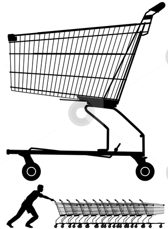 Shopping trolley stock vector clipart, Editable vector illustration of a shopping trolley silhouette plus a worker pushing them by Robert Adrian Hillman