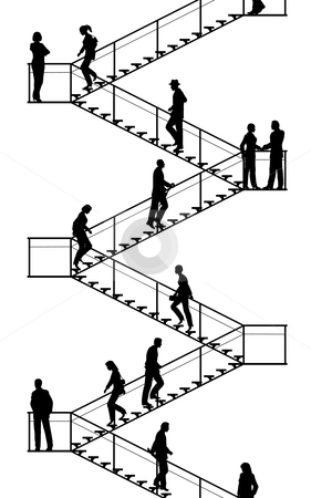Stairway stock vector clipart, Editable vector silhouettes of people walking up and down flights of stairs with all elements as separate objects by Robert Adrian Hillman