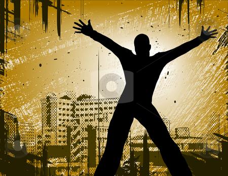 Urban man stock vector clipart, Editable vector design of a man in a city with grunge by Robert Adrian Hillman