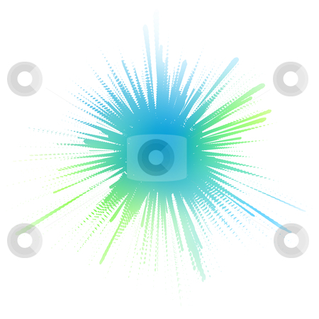 Watery ink splash stock vector clipart, Editable vector illustration of a blue-green ink splash made by masking a background color mesh by Robert Adrian Hillman