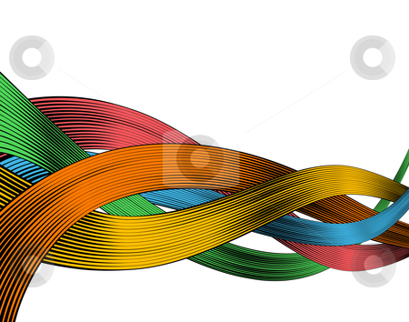 Woodcut ribbons stock vector clipart, Abstract editable vector design of colorful ribbons in woodcut style by Robert Adrian Hillman