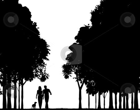 Woodland walk stock vector clipart, Editable vector silhouette of a couple walking through a wood by Robert Adrian Hillman