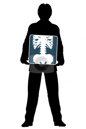 Xray stock vector clipart, Editable vector silhouette of a man holding an x-ray of his abdomen by Robert Adrian Hillman