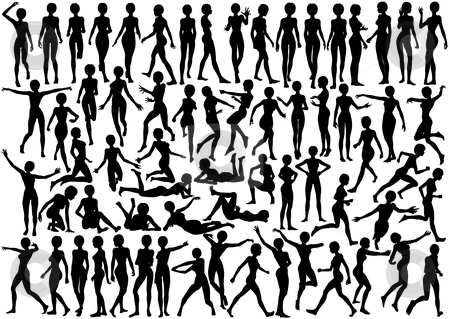 Young woman silhouettes stock vector clipart, Set of editable vector silhouettes of a naked young woman by Robert Adrian Hillman