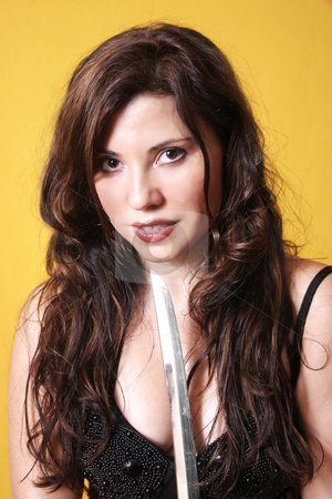 Beauty and Blade stock photo, Beautiful brunette in a beaded bustier holding a long bladed weapon by Leah-Anne Thompson