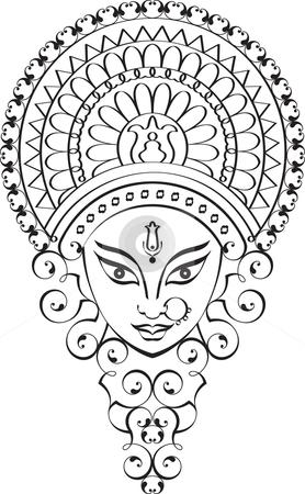 Durga Calligraphic ornamental  stock vector clipart, Durga Calligraphic ornamental by Ajay Shrivastava