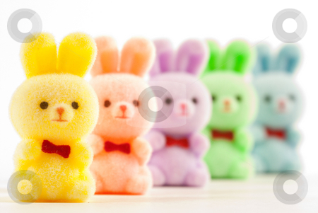 Bunnies stock photo, Colorful bunnies with bowties on white background. by Tammy Abrego