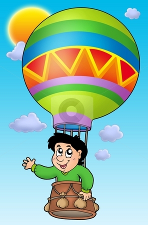 Boy in balloon on sky stock photo, Boy in balloon on sky - color illustration. by Klara Viskova