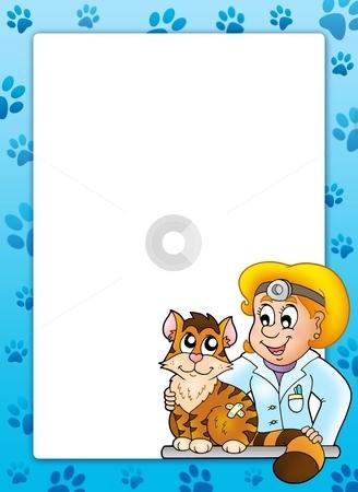 Frame with cat at veterinarian stock photo, Frame with cat at veterinarian - color illustration. by Klara Viskova