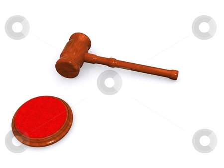Gavel and block stock photo, A hammer maded in 3d on a white background by Jan Schering
