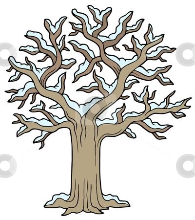 Winter snowy tree stock vector clipart, Winter snowy tree - vector illustration. by Klara Viskova