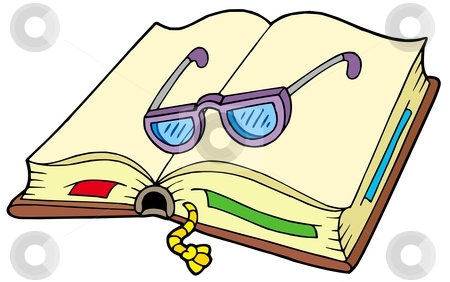 Open book with glasses stock vector clipart, Open book with glasses - vector illustration. by Klara Viskova