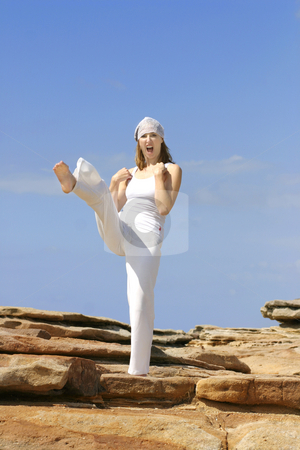 Karate Kick stock photo, Woman does a large karate kick by Leah-Anne Thompson
