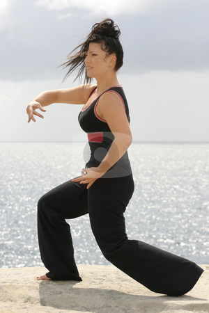 Tai Chi stock photo, Gracefully moving through a set of movements. by Leah-Anne Thompson