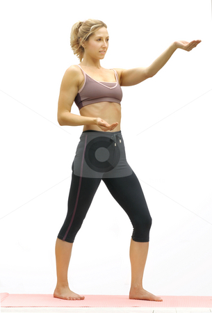 Tai Chi stock photo, Cupping the moon, tai chi exercies, by Leah-Anne Thompson