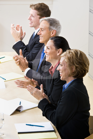 Business people clapping in meeting stock photo, Business people clapping in meeting by Jonathan Ross