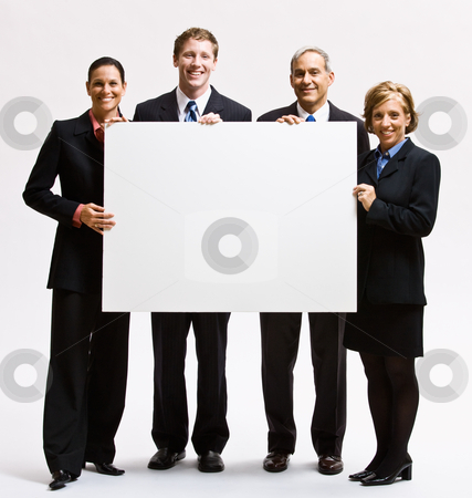 Business people holding blank paper stock photo, Business people holding blank paper by Jonathan Ross