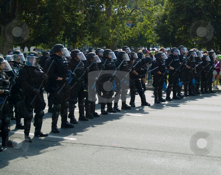 Riot police stock photo, Riot police create a line by Cora Reed