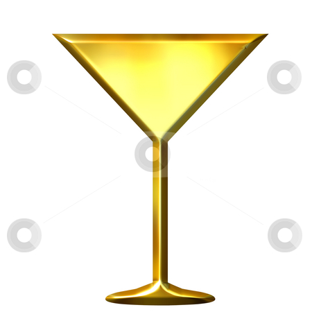 3D Golden Cocktail stock photo, 3d golden cocktail isolated in white by Georgios Kollidas