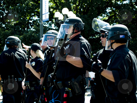 Riot police stock photo, Police watch over crowds at the DNC by Cora Reed