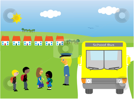 School bus stock vector clipart, Vector illustration of children of different races chatting and laughing whilst they are waiting to get on the school bus. by Rachel Gordon