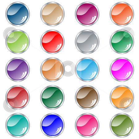 Round web buttons set of 20 in assorted colors stock vector clipart, Web buttons. Round shiny set of 20 navigation buttons in assorted colors. Isolated on white. by toots77
